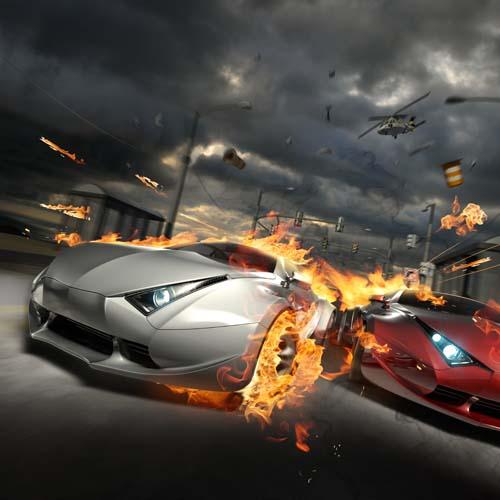 Две машины в огне
