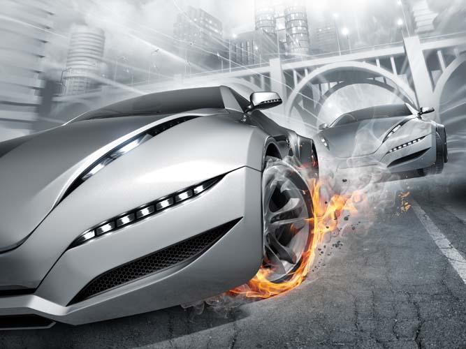 Машина с огнем