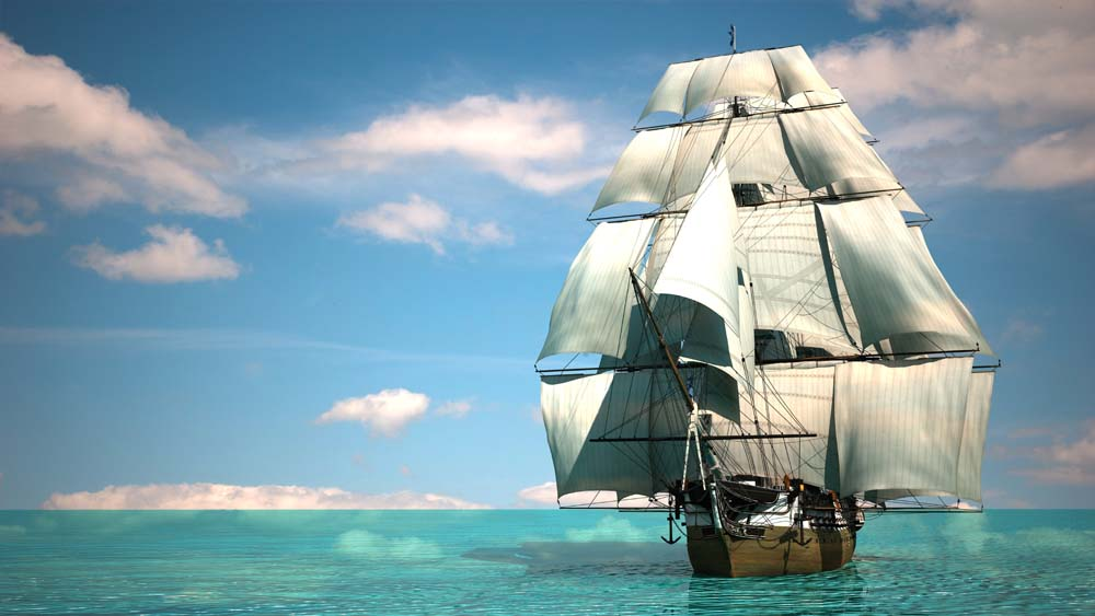 Корабль в бирюзовом море